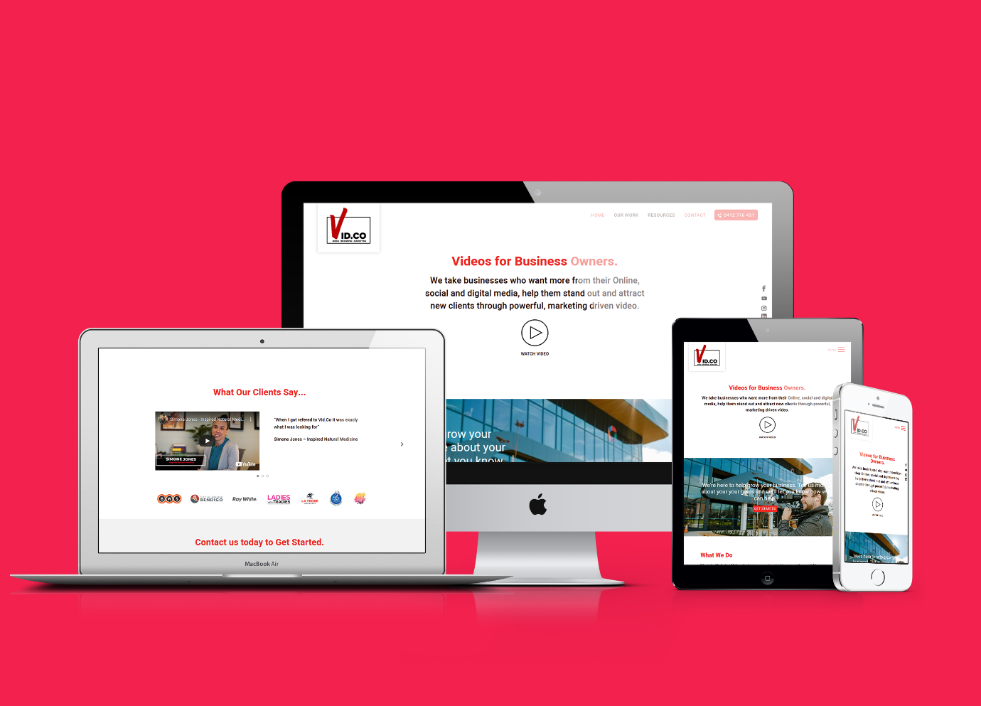 Bendigo web design portfolio image Vid Co website on all devices